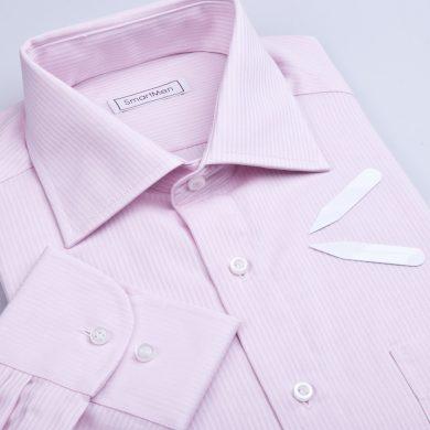SmartMen pánská košile růžový proužek - Business Regular fit