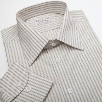 SmartMen pánská košile s proužky na bílém podkladu Slim fit