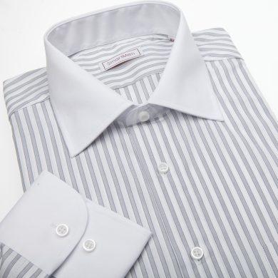 SmartMen pánská košile šedý proužek - bílý límeček & manžety Slim fit