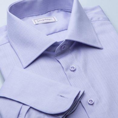 SmartMen pánská luxusní košile fialová Herringbone na manžetové knoflíčky Slim fit