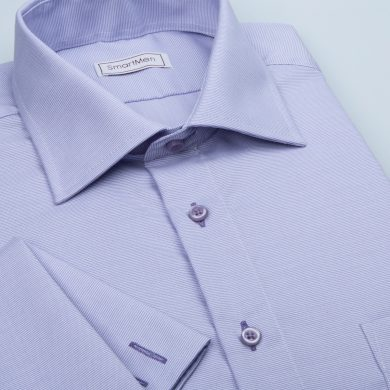 SmartMen pánská luxusní košile fialová na manžetové knoflíčky Slim fit
