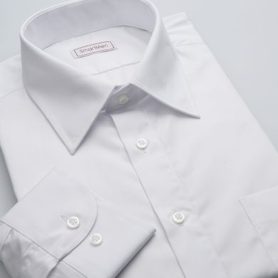 SmartMen bílá popelínová košile dlouhý rukáv Easy Care Slim fit