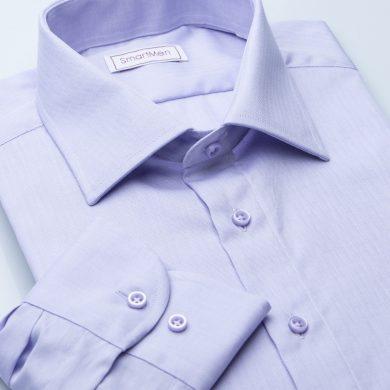 SmartMen pánská společenská košile fialová Herringbone Slim fit