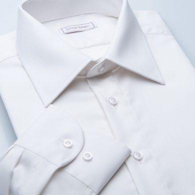 SmartMen smetanová košile na svatbu jednoduchá manžeta střih Slim fit
