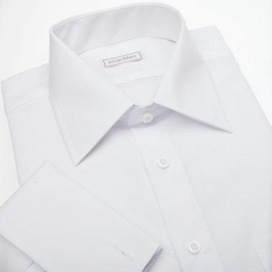 SmartMen společenská bílá košile na manžetové knoflíčky Non Iron Slim fit
