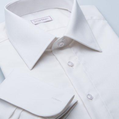 SmartMen svatební smetanová košile na manžetové knoflíčky Slim fit