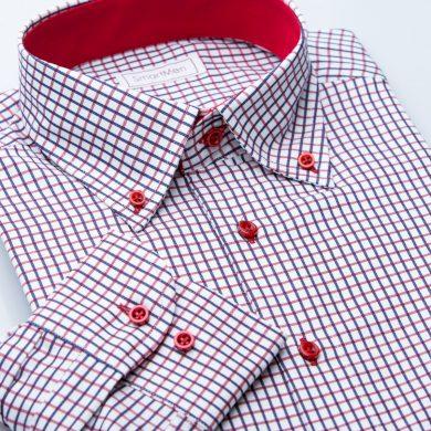 SmartMen Casual pánská košile károvaná Button-down s kontrastem Slim Fit