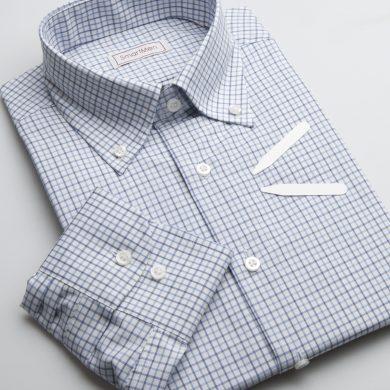 SmartMen pánská károvaná košile modrá - Button down Slim