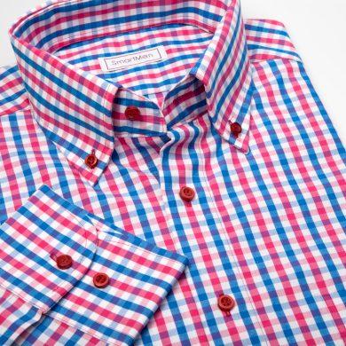 SmartMen pánská košile károvaná Casual - Button down Regular Fit