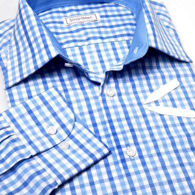 SmartMen pánská košile modrá kostka - Casual styl sřih Regular Fit