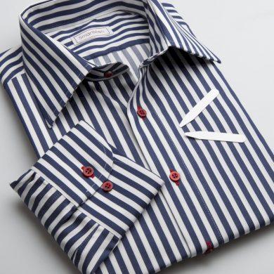 SmartMen pánská košile modrý proužek - NAVY BLUE s červenými knoflíčky střih Slim fit