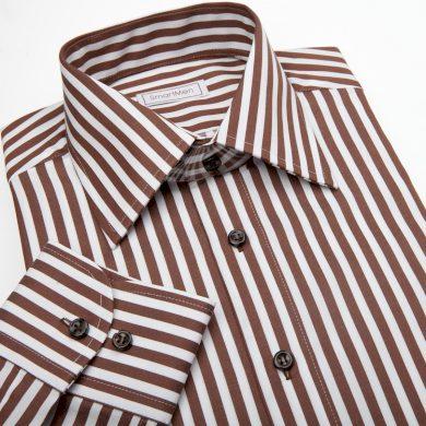 SmartMen pánská casual košile Slim v proužku s hnědými knoflíčky