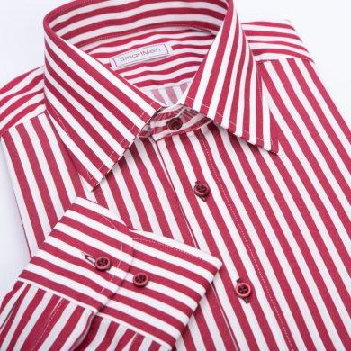 SmartMen pánská košile vínový proužek Non Iron knoflíky v kontrastu střih Slim fit