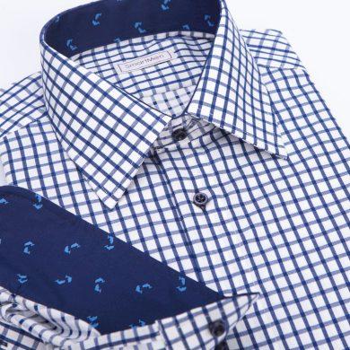 SmartMen Casual pánská košile modrá károvaná s delfíny Slim fit