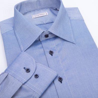 SmartMen modrá pánská košile Royal Oxford Easy Care Slim fit