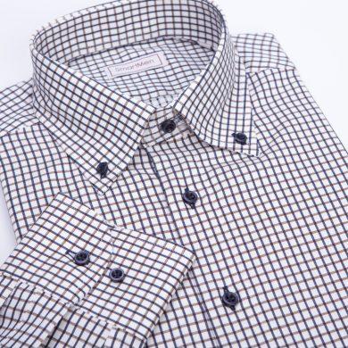 SmartMen Casual košile károvaná Button-down modro hnědá Slim Fit