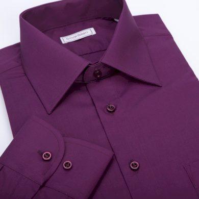 SmartMen jednobarevná fialová košile s dlouhým rukávem Slim fit