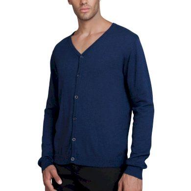 Modrý pánský Cardigan na knoflíky bavlna a kašmír