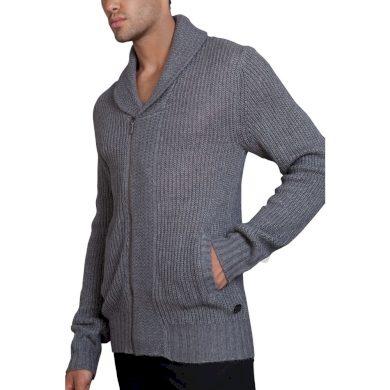 Pánský svetr na zip s límcem do V šedý melír