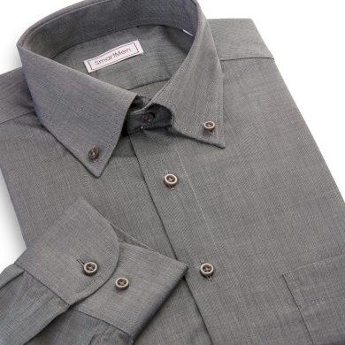 Pánská košile SmartMen tmavě šedý melír dlouhý rukáv Button-down Slim Fit