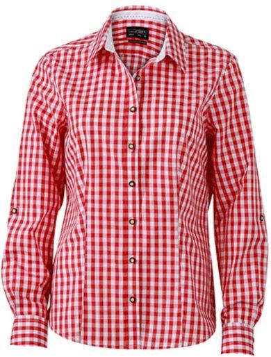Dámská kostkovaná košile s rolovacím rukávem