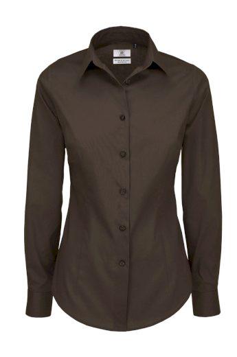 Popelínová elastická košilová halenka dlouhý rukáv