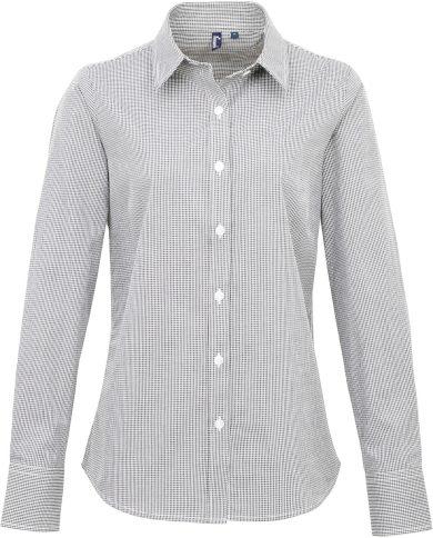 Dámská košilová halenka jemně károvaná slim easy care