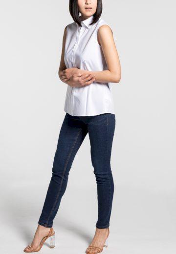 Dámská halenka ETERNA Modern Classic bílá stretch bavlna Easy Iron bez rukávů