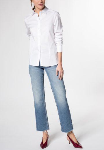 Dámská volná košilová halenka dlouhý rukáv ETERNA Modern Classic stretch bavlna Easy Iron bílá
