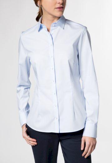 Dámská světle modrá košile dlouhý rukáv Popelín ETERNA Modern Classic 100 % bavlna Non Iron
