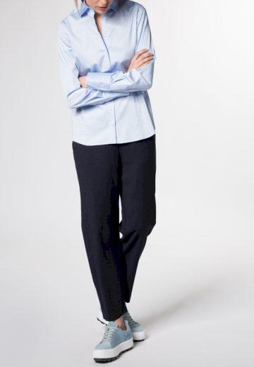 Saténová dámská košile světle modrá dlouhý rukáv ETERNA Modern Classic stretch bavlna Easy Iron