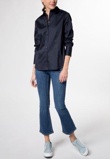 Saténová dámská košile tmavě modrá Navy dlouhý rukáv ETERNA Modern Classic stretch bavlna Easy Iron