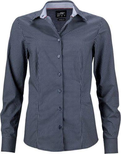 Dámská smart košile tečkovaná s kontrastem dlouhý rukáv popelín