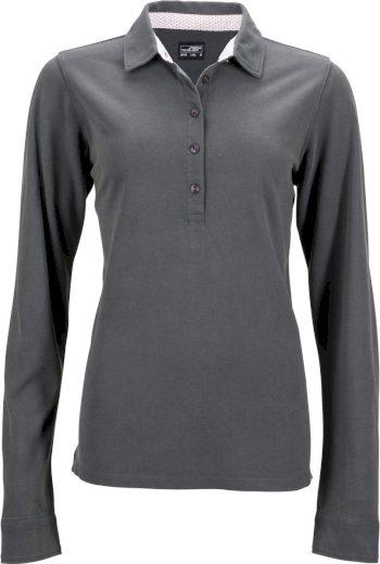 Dámské polo tričko dlouhý rukáv s kontrastem & předepraný vzhled