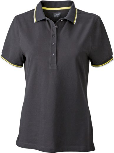 Černé funkční polo tričko dámské s barevnými kontrasty stretch