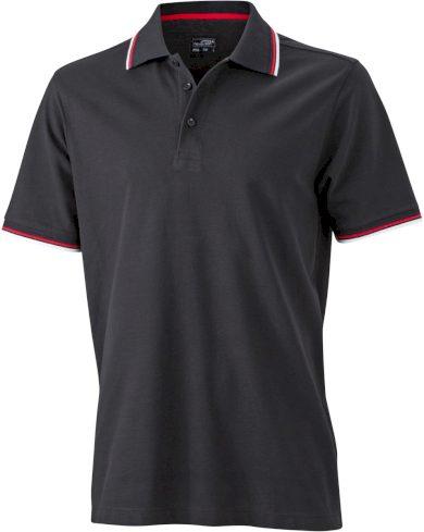Černé funkční polo tričko pánské s barevnými kontrasty stretch