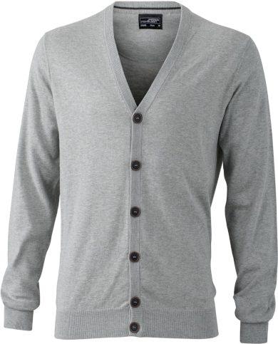 Pánský cardigan svetr do V bavlna s hedvábím a kašmírem
