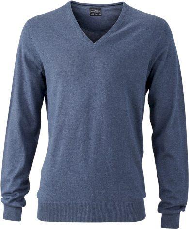 Pánský pulovr do V bavlna s hedvábím a kašmírem