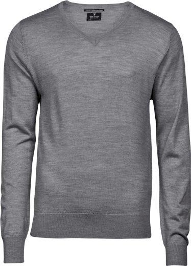 Pánský pletený svetr s výstřihem do písmene V merino vlna & akryl