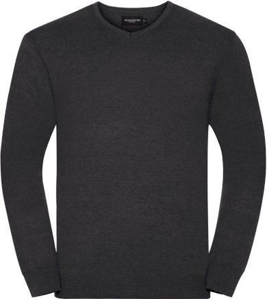 Pánský pletený svetr s výstřihem do písmene V bavlna & akryl