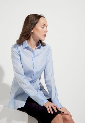 Dámská světle modrá košilová halenka ETERNA Slim Fit stretch bavlna Non Iron dlouhý rukáv