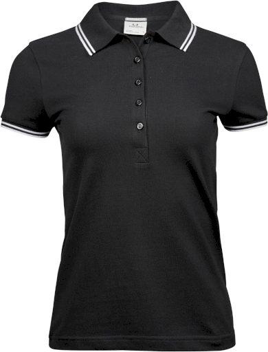 Tee Jays dámská polo košile krátký rukáv bavlna s elastanem mini piqué proužky
