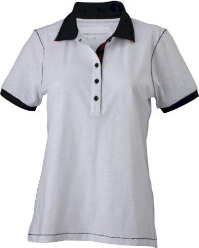 Dámské polo tričko krátký rukáv projmutý střih zdobné švy James Nicholson