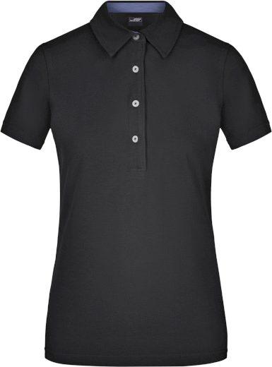 Dámská polo košile kostkovaný kontrast 100% česaná bavlna James Nicholson