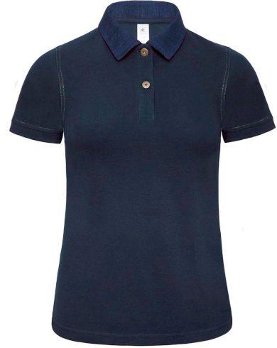 Dámské polo tričko denim límeček v kontrastu krátký rukáv 100% bavlna