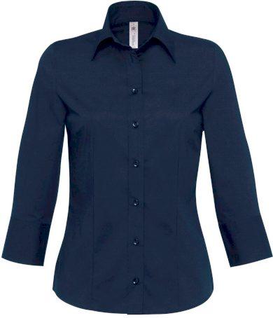 Dámská košile 3/4 rukáv stretch popelín bavlna & elastan Milano