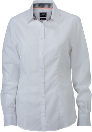 Dámská smart casual košile jednobarevná s károvaným kontrastem Popelín Easy Care