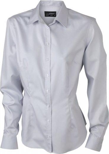 Dámská košilová halenka James&Nicholson dlouhý rukáv 100% bavlna Rypsový kepr Easy Care