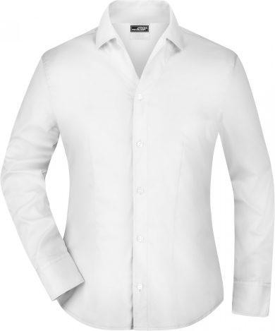 Dámská halenka otevřený límeček do V James&Nicholson dlouhý rukáv 100% bavlna Rypsový kepr Easy Care