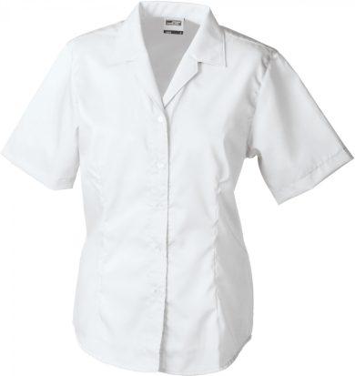 Dámská halenka otevřený límeček do V James&Nicholson krátký rukáv 100% bavlna Rypsový kepr Easy Care